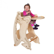 TRIHORSE® Baby 3in1 highchair NATURE, a highchair, a rocking horse, and a small table and chair