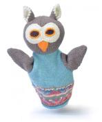 ChunkiChilli Organic Cotton Owl Puppet Toy- Blue