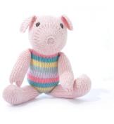 ChunkiChilli Organic Cotton Pig Toy - Pink Stripe