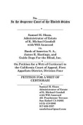 In the Supreme Court of the United States Samuel H Sloan vs Bank of America, James R. Hastings and Guide Dogs for the Blind Petition for a Writ of Certiorari Second Appeal
