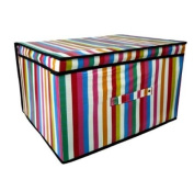High Quality Folding Multicoloured Stripes Kids Room Tidy Toy Storage Box with Lid