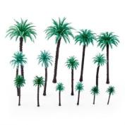14Pcs 4.8cm - 17cm Model Coconut Palm Trees Layout Train Scale 1/50