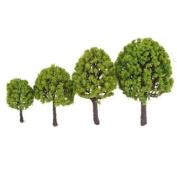 4pcs 9cm - 18cm Scenery Landscape Model Trees - Light Green