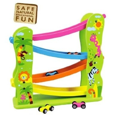 Viga Wooden Jungle Zig Zag Car Slider Click Clack Racetrack 59610 By