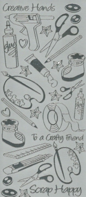 silver craft peel offs,tools, scrapping, creative etc outline peel off stickers for crafts
