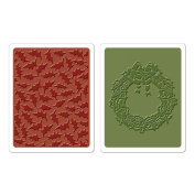 SIZZIX BY ELLISON Texture Fades Embossing Folders By Tim Holtz 2/Pkg Holly Pattern & Wreath