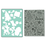 Sizzix Textured Impressions A2 Embossing Folder & Stamp Set-Merry Background By Hero Arts
