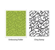 Sizzix Textured Impressions A2 Embossing Folder & Stamp Set-Flourish By Hero Arts