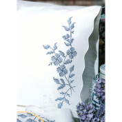 Stamped Pillowcase Pair 50cm x 80cm For Embroidery-Blue Elegance