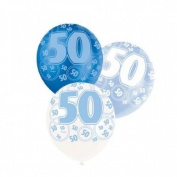 Blue Glitz 50th Birthday Latex Balloons