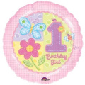 Hugs & Stitches 1st Birthday Girl Foil 46cm Uninflated