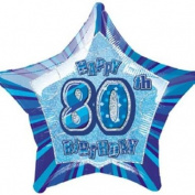 Unique Party 50cm Glitz Foil Happy 80th Birthday Helium Balloon