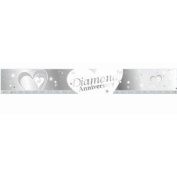 SILVER & WHITE DIAMOND (60TH WEDDING) ANNIVERSARY BANNER - 2.7m