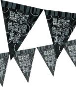 Black Glitz Happy Birthday 3.7m Flag Banner