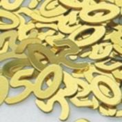 Age 50/50th Wedding Anniversary Gold Metallic Table Confetti