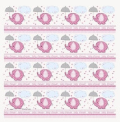 Pink Baby Shower Umbrellaphants Roll of Gift Wrap 80cm x 5'
