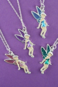 Coloured enamel fairy pendant necklace - silver coloured metal necklace