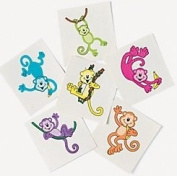 Pack of 12 - Monkey Temporary Tattoos - Great Party Loot Bag Fillers