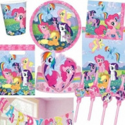 My Little Pony Bumper 58 Piece Party Supplies Pack, Cups Plates, Napkins, Tablecover, Straws, Banner, Tiaras, Party Bags