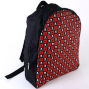 Checked Red Star and Skull Black Backpack Rucksack 38cm x 31cm school fashion