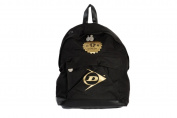 Black lightweight backpack by Dunlop with gold logo
