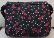 Cherrys design A4 folder Size Courier or sling style messenger bag Black and red travel cabin or hand luggage school