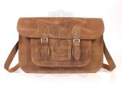 38cm Light Tan Hunter Leather Leather Oxbridge Satchel - Magnetic Clasp - Classic Retro Fashion laptop / school bag
