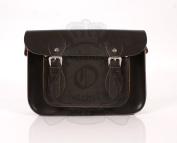 28cm Chocolate Brown Leather Leather Oxbridge Satchel - Magnetic Clasp - Classic Retro Fashion laptop / school bag
