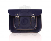 28cm Deep Purple Leather Leather Oxbridge Satchel - Magnetic Clasp - Classic Retro Fashion laptop / school bag