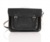 33cm Charcoal Black Real Leather Oxbridge Satchel - Classic Retro Fashion laptop / school bag