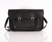 38cm Charcoal Black Real Leather Oxbridge Satchel - Classic Retro Fashion laptop / school bag
