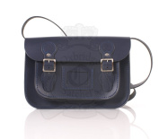 28cm Navy English Satchel - Classic Retro Fashion laptop / school bag