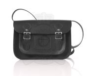 28cm Black Leather English Satchel - Classic Retro Fashion laptop / school bag