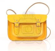 28cm Yellow English Satchel - Classic Retro Fashion laptop / school bag