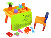 UKIC Sand and Water Play Table with Chair Lid and Accessories