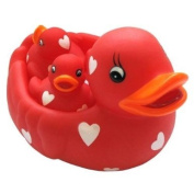 Family of Rubber Ducks 4pcs - Red Hearts + FREE P & P