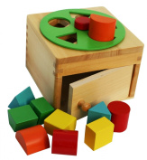 Wooden Shape Sorter Box with Rotating Wheel