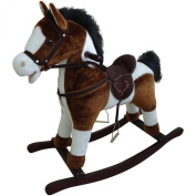 New Brown and White Children Rocking Horse With Gallop Sound and Cowboy Song Small Size 74cm(L) x 28cm(W) x 68cm(H) Seat Height 45cm Great Traditional Vintage Kids Toy