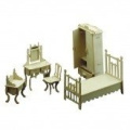 Dolls House Wooden Bedroom Furniture Kit 1/12 scale Tab & Slot Method Age 6+
