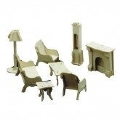 Dolls House Wooden Living Room Furniture Kit 1:12 scale age 6+