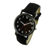 Backwards watch, anti clockwise black face and Synthetic leather and canvas strap