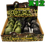 12 x TOY HAND GRENADES WITH REALISTIC SOUND & LIGHT IN GREEN AND BLACK IN DISPLAY BOX ARMY