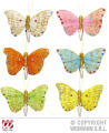 Butterfly Hair Clips (White/Pink/Orange/Blue/Green/Yellow) Accessory for Fancy Dress