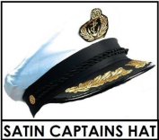 QUALITY SATIN CAPTAINS HAT ONE SIZE OFFICER SAILOR