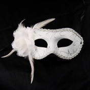 GadgetpoolUK White Feather Eye Face Mask Masquerade Venitian Carnival Curved