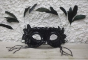 BLACK MASK BEADS & FEATHERS
