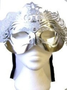 Novelties Direct Silver Ornate Mask With Silver Studs