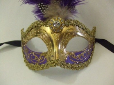 Purple and Gold Feather Venetian Mask ~ 801GVT