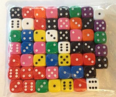 DICE - 50+ 12mm dice - random colours