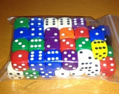Dice, 50 x 16mm rounded corner spot dice - mixed colours